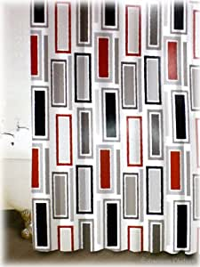 New Red BLACK & GRAY WHITE Rectangles FABRIC Retro Bathroom Bath Shower Curtain