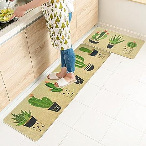 2Pcs//Set Floral Printed Floor Mat Carpet Kitchen Bathroom Non-Slip Absorbent Rug