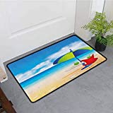 Anhounine Beach Outdoor Door mat Relaxing Scene with Umbrella and Drinks Open Skyline Holiday Destination Summer Time Easy to Clean W23 x L35 Multicolor