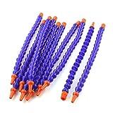10PCS Round Nozzle 1/4PT Flexible Oil Coolant Pipe Hose Blue Orange