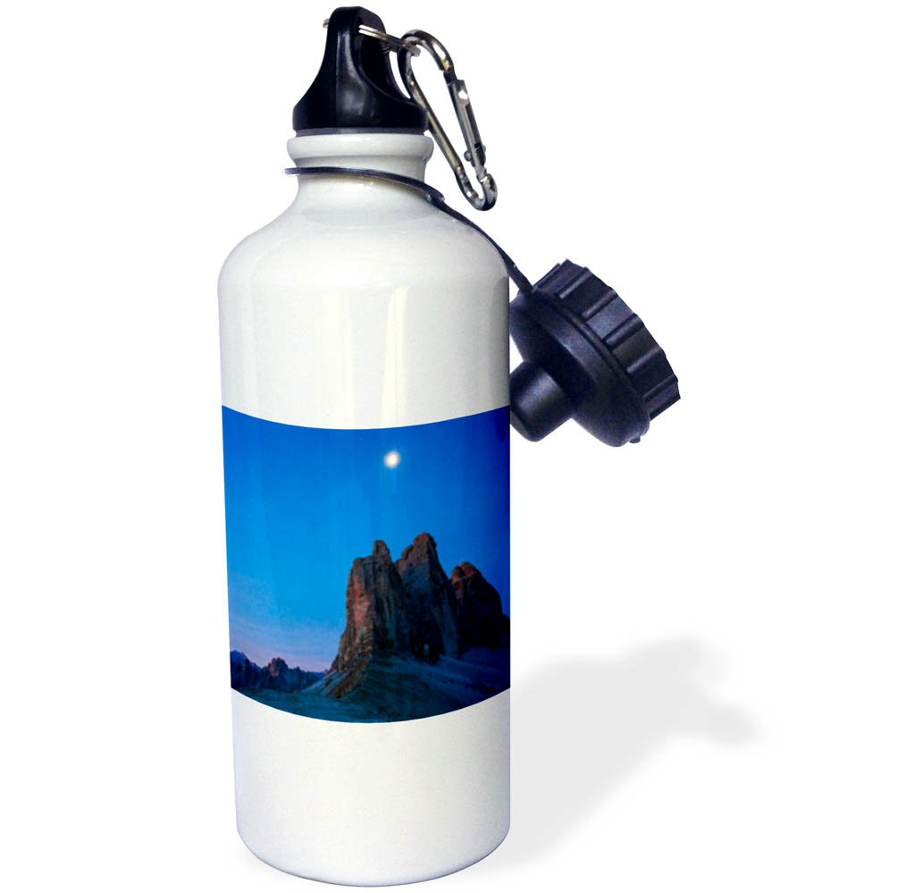 3dRose Danita Delimont - Mountains - The moon hovers over mountain peaks draped in blue, Dolomites, Italy - 21 oz Sports Water Bottle (wb_277539_1) by 3dRose