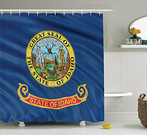 [American Decor Collection Idaho Flag Gold Letters Miner and a Woman Representing Equality Liberty and Justice Image Polyester Fabric Bathroom Shower Curtain Navy] (Gold Miner Costume Accessories)