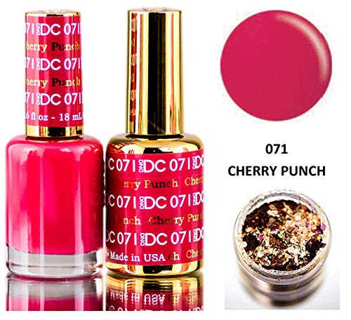 DND DC Pinks GEL POLISH DUO, Gel Lacquer 0.5 oz + Matching Nail Polish Color 0.5 oz, Daisy Nails (with bonus side Glitter) Made in USA (Cherry Punch (071).)