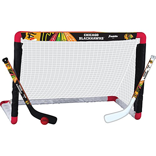(Franklin Sports Chicago Blackhawks Mini Hockey Knee Hockey Goal, Ball & 2 Stick Combo Set - 28