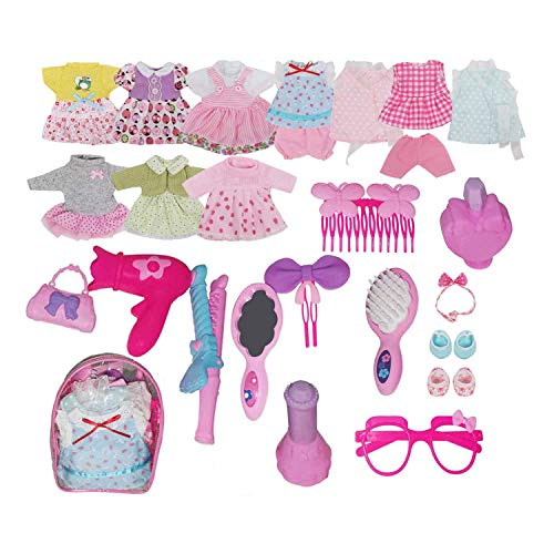 Huang Cheng Toys Pretend Playset Pack of Alive Baby Doll Dress Clothes Costumes 10PCS Outfits for 12inch American Doll with 11PCS Doll Accessories.