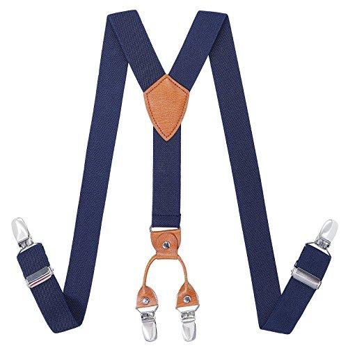 Kajeer Toddlers Boys Mens Adjustable Suspenders - Y Back Heavy Duty Suspenders for School Uniforms Tuxedos (43.3 Inch (5 Feet Tall - 9 Feet Tall), Navy blue) by Kajeer