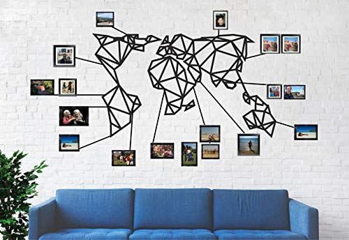 DEKADRON World Map Wall Art - Geometric World Map - 3D Wall Silhouette Metal Wall Decor Home Office Decoration Bedroom Living Room Decor Sculpture (40