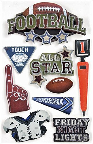 Football Scrapbooking - Paper House Productions STDM-0017E 3D Cardstock Stickers, Football