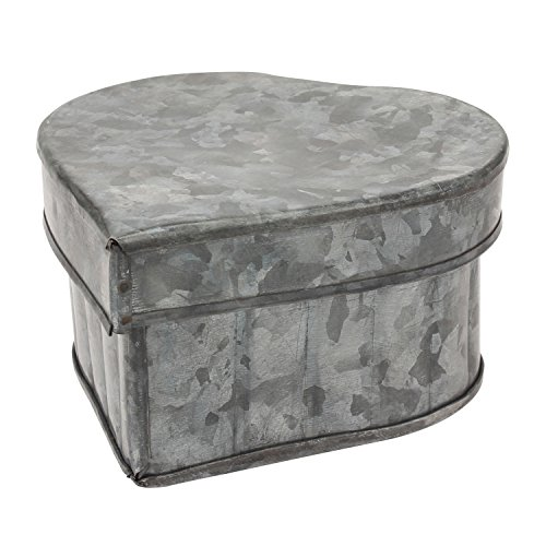 Stonebriar Aged Galvanized Metal Heart Shaped Storage Container with Removable Lid, Rustic Keepsake Trinket Box, Unique Small Jewelry -