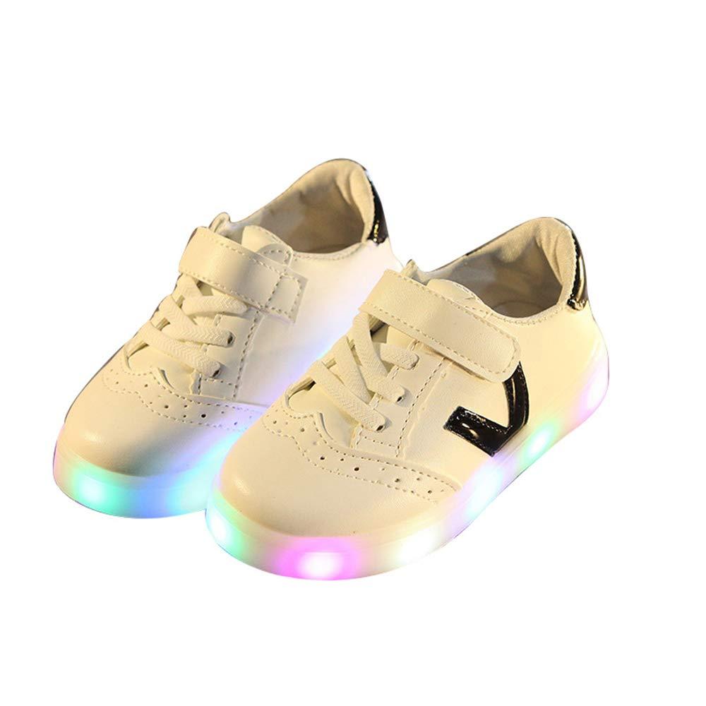 edv0d2v266 Kids Shoes Flying Woven Casual Shoes Girls LED Lights Kids Student Shoes(Black 23/6MUSToddler)