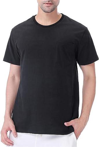 COSAVOROCK Camiseta de Bolsillo Gruesas de Algodón 100% para Hombres (L, Negro): Amazon.es: Ropa y accesorios