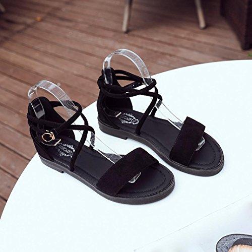 aa920467 30% de descuento ZARLLE Mujer Zapatos Planos Vendaje Bohemia Las Mujeres  Sandalias Planas Cruz Open