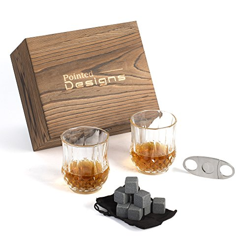 Whiskey Gift Set - 2 Full Size Whiskey Glasses, 8 Granite Whiskey Stones, Elegant Velvet Storage Bag And Cigar Cutter Packed In A Luxurious Wooden Gift Box - By Pointed Designs