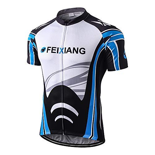 FEIXIANG Men's Cycling Jersey, Cool Dry Short Sleeve Bike Shirts Bicycle Top with Pockets Zipper Biking Jacket