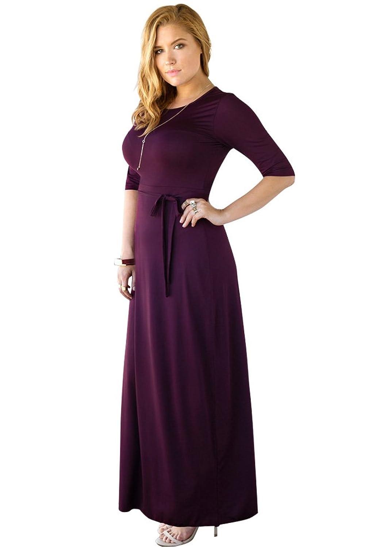 Lookbook Store® Damen Purpurfarbenes Körperbetontes Langes Maxikleid mit Halbarm Bindegürtel Einfarbig