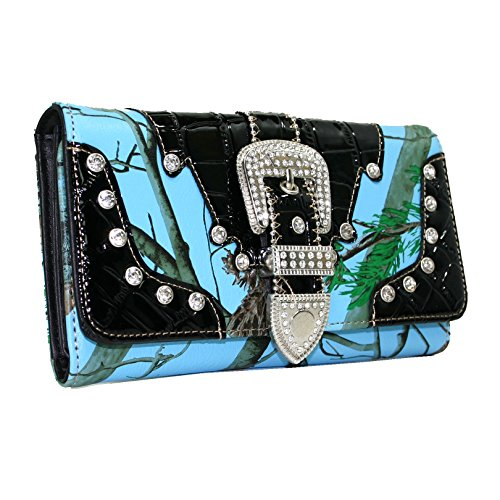 2 tone Camo Western Rhinestone Studded Buckle Wallet with Black Tirm - Blue/Cam