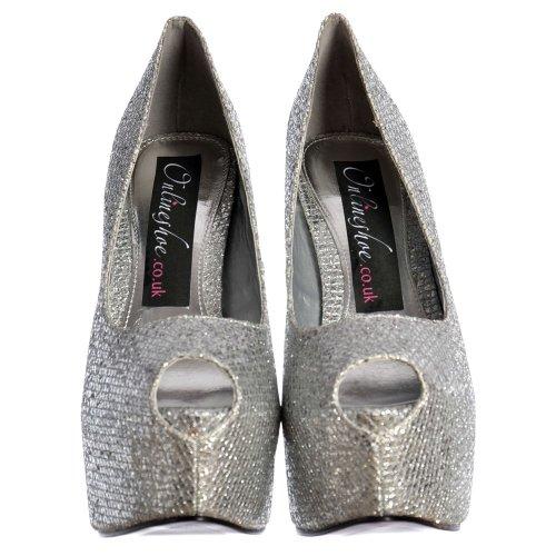 Alto Plata Escarch Tacãn Zapatos Onlineshoe Las Plataforma Peep Con Estilete Mujeres Toe Brillo De Ocultas RSqwPqH