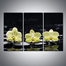 Eyedow Decor Art 3 Panel Wall Art Stretched By Wooden Frame Yellow Orange Still Life With Pebbles And Three Orchid Painting Pictures Photo Print On Canvas Flower The Picture For Home Modern Decoration