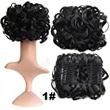 S-ssoy Women's Short Messy Curly Dish Hair Bun Piece Extension Easy Stretch Hairpiece Combs Clip in Ponytail Extension Scrunchy Scrunchie Chignon Tray Ponytail for Girl Lady Women - 1#