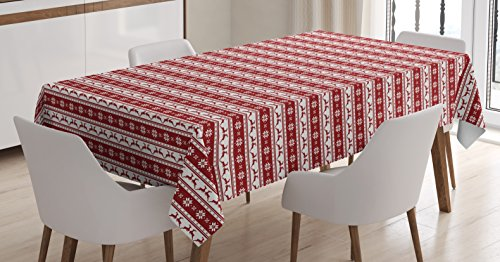 Christmas Decorations Tablecloth by Ambesonne, Norwegian Scandinavian Traditional Borders Reindeer Striped Flower, Dining Room Kitchen Rectangular Table Cover, 60 W X 90 L Inches, Red and - Christmas Traditional Norwegian