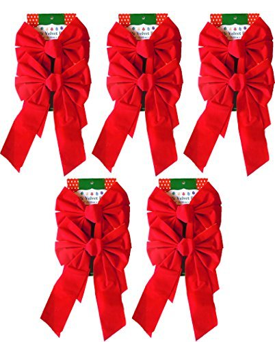(Pack of 20 Christmas Red Velvet Bows 9-inch X 16-inch By Blue Green Novelty)