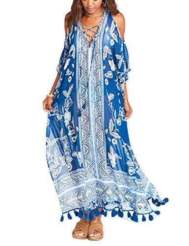 Ailunsnika Print Cold Shoulder Tassel Beach Swimwear Maxi Dress Women Chiffon Lace Up Swimsuit Cover Up Robes
