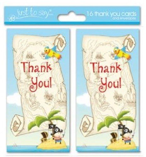 16 x Pirate Boys Thank You Cards Ideal for Birthday Tallon