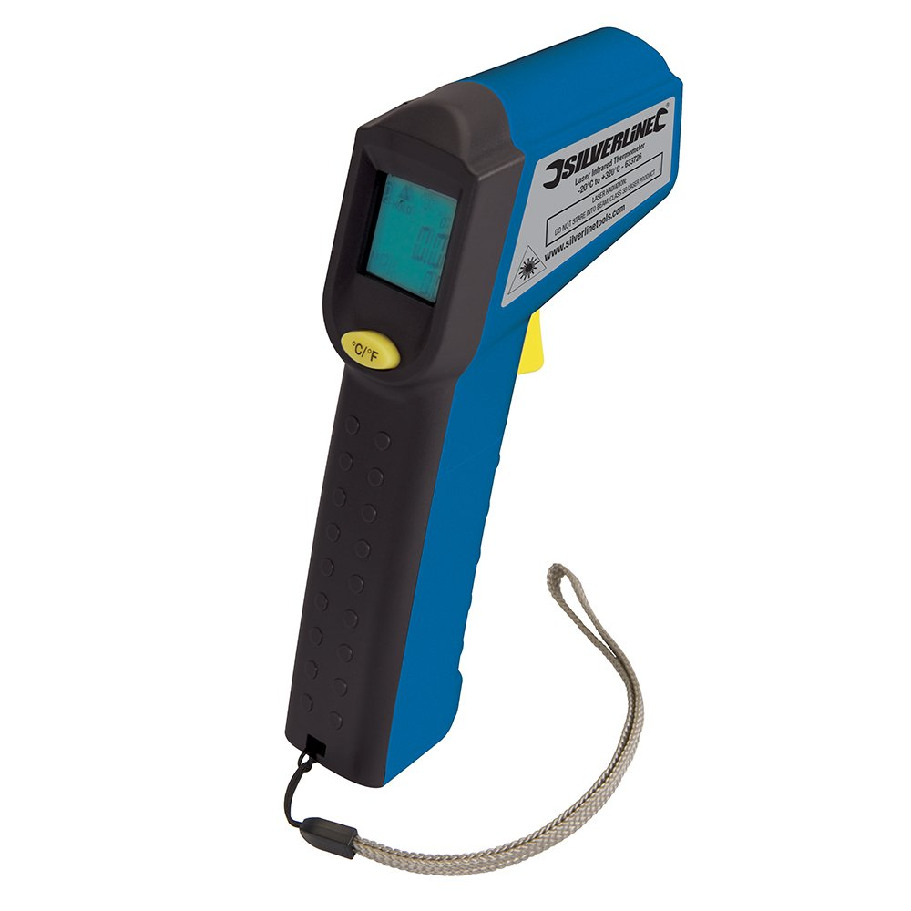 Silverline 633726 Digital Infrared Thermometer With Laser 38 To Non Contact Ac Voltage Detector 140mm Electrical Diy Tool 520c Tools