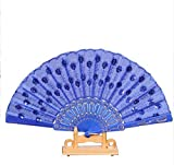 Deep Blue Spanish Party Dance Folding Hand Fan Sequined