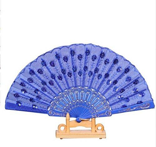 Deep Blue Spanish Party Dance Folding Hand Fan Sequined