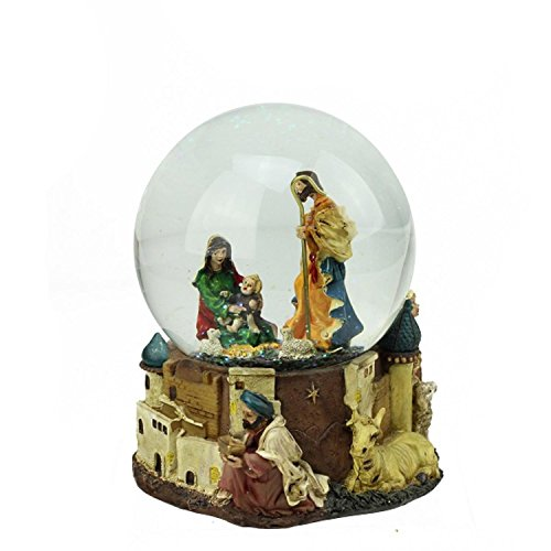 Scene Snowglobe Nativity (Northlight Nativity Scene Religious Inspirational Musical Christmas Snow Globe Glitterdome, 5.5