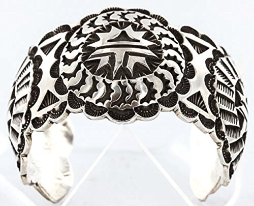 Certified Authentic Navajo Carved .925 Sterling Silver Signed MT Native American Bracelet (Sterling Bracelet Signed)
