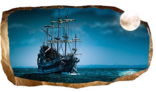 Startonight 3D Mural Wall Art Photo Decor Moon And Ship Amazing Dual View  Surprise Large 32.28 Inch By 59.06 Inch Wall Mural Wallpaper For Living  Room Or ...