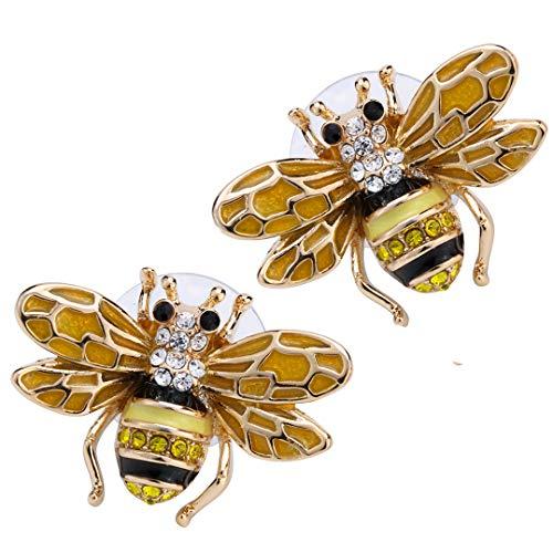 YACQ Honey Bee Stud Earrings Crystal Costume Jewelry for Women Teen Girls -