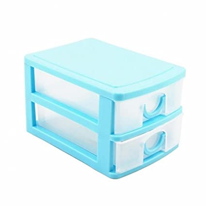 Softmusic Plastic Drawer Desk Organizer Storage Box Jewelry Cosmetics Containers Case size Two Layers (Blue)