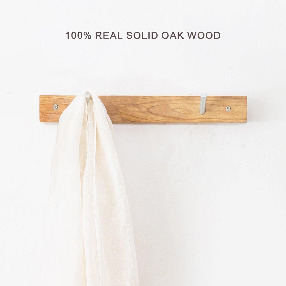 Wall Mounted Coat Rack/Rail Solid Oak Wood Hook for Coat Clothes Hats Key Towels Hanger- Wooden Peg Rack Metal Liberty Hooks Rail Holder for Bedrooms Bathrooms Hallways Entryway (2 Hooks)