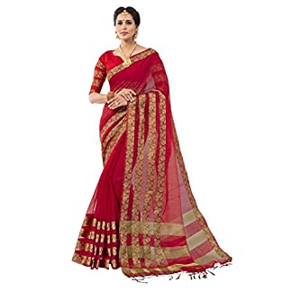 PISARA Women's Banarasi Cotton Silk Saree with Blouse Piece 519AbI2BSEL