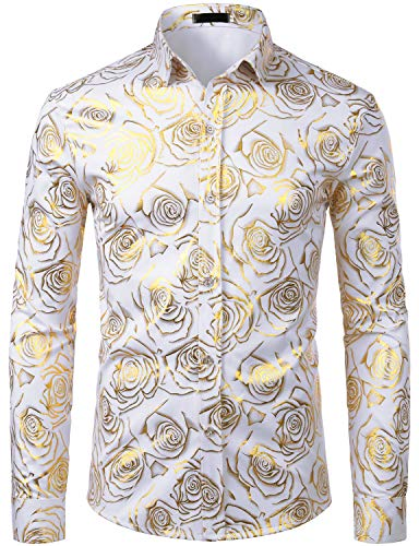 ZEROYAA Men's Nightclub Rose Gold Shiny Flowered Printed Slim Fit Button Down Dress Shirts for Party ZZCL18 White Medium (Gold And White Shirt)