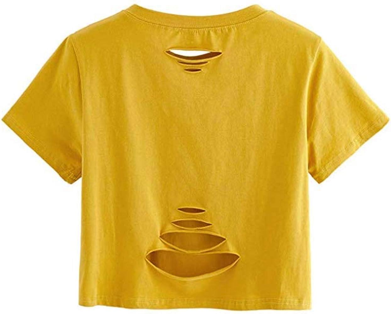 Qingsiy Mujer Verano Moda Camiseta Corto Suelta de Manga Corta para Mujer Camisas Color Sólido Cuello En O Blusa Hueca Mujeres Tallas Grandes/A( Amarillo,S): Amazon.es: Ropa y accesorios