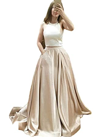 Harsuccting Two Piece Long Halter Champagne Satin Prom Dress With Pocket 2