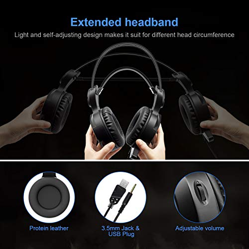 Gaming Headset New bee Stereo Over Ear Gaming Headphone for PS4, PC, Xbox One with Mic, LED Light 3.5mm Wired Volume Control Soft Memory Earmuffs for Laptop, Mac, iPad, Nintendo Switch by New bee (Image #3)