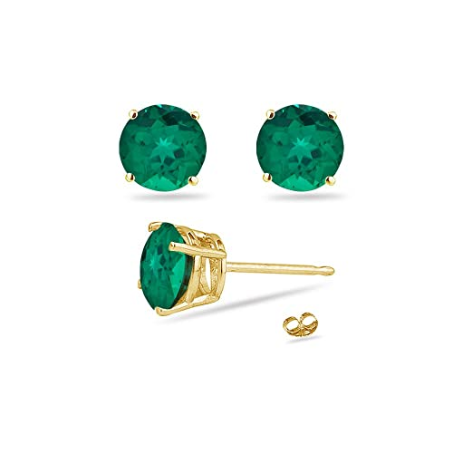 2.47-2.81 Cts of 7 mm AAA Round Russian Lab Created Emerald Stud Earrings in 14K Yellow Gold-Screw Backs