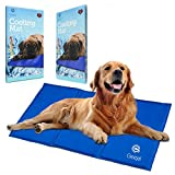 Geejal Pet Cooling Mat for Dogs with Self-Pressure Activated Blue Gel Pad for Dogs and Cats - Large Summer Folding Pet Comfort Cooler Fits Floor - Couch - Car Seat - Kennel & Pet Bed