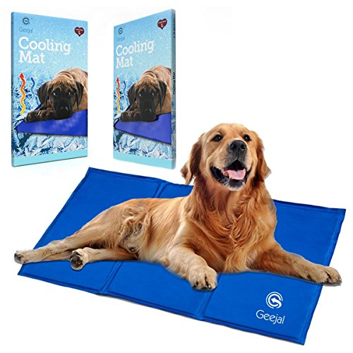 Cool Pet Beds (Geejal Pet Cooling Mat for Dogs with Self-Pressure Activated Blue Gel large Cooling Pad for Dogs and Cats of all sizes , Summer Folding Pet Comfort Cooler Fits Floor, Couch, Car Seat, Kennel & Pet Bed)