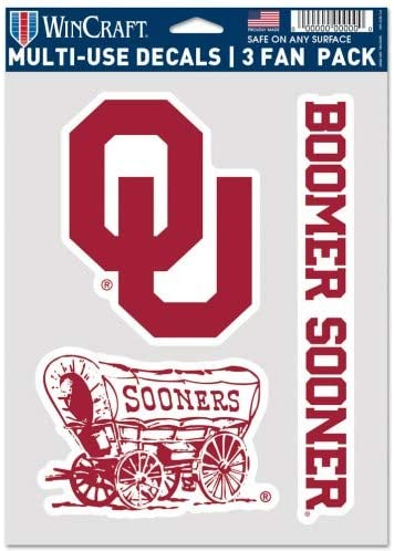 WinCraft NCAA Oklahoma Sooners Decal Multi Use Fan 3 Pack One Size Team Colors