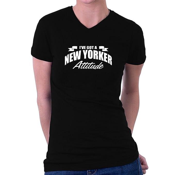 Teeburon New Yorker ATTITUDE Maglia a V-collo Donna  Amazon.it   Abbigliamento 8ba0d9a849d9