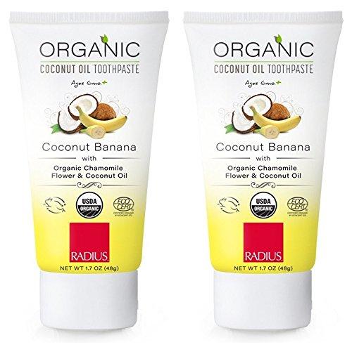 Radius Organic Children's Coconut Banana Toothpaste (Pack of 2) With Equisetum, Coconut Oil, Blue Agave, Banana Flavor, Calcium Carbonate, Guar Gum,Grapefruit, Rosemary and Aloe Vera, 1.7 oz. each