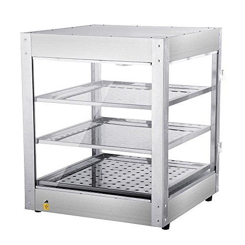 AMPERSAND SHOPS Commercial Food Warmer Pizza Pretzel Empanada Storage Display Cabinet (3-Tier)