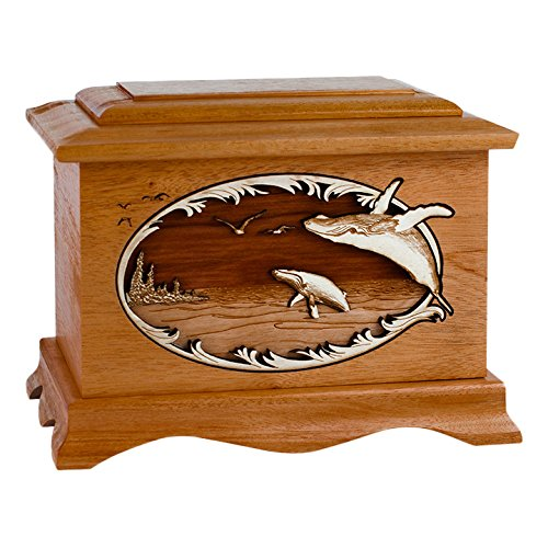 Wood Cremation Urn - Mahogany Whale Ambassador by Memorials Forever