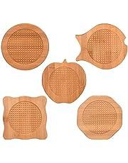 """TEUN 5 PCS Natural Bamboo Hot Pots Trivet Mat Set 6"""" Wood Hot Pads Pot Bamboo Coasters with Anti-Slip Durable Pads for Hot Dishes Bowl Teapot Hot Pot Holders Heat Resistant"""